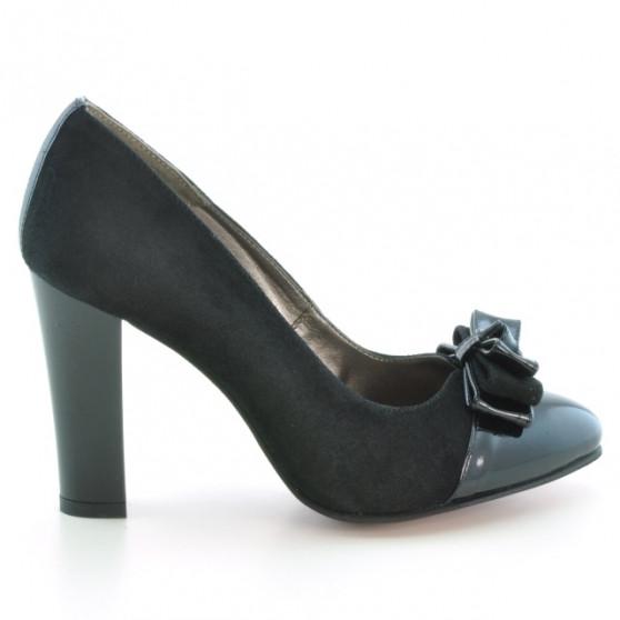 Women stylish, elegant shoes 1226 patent black+black antilopa