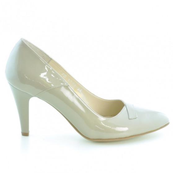 Women stylish, elegant shoes 1231 patent beige