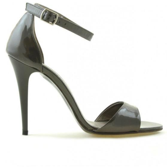 Women sandals 1238 patent brown pearl