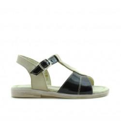 Sandale copii mici 40c lac bej+negru