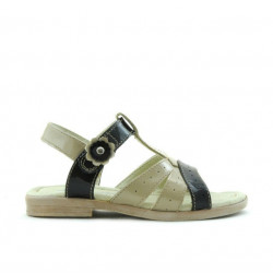 Small children sandals 18c patent beige+black