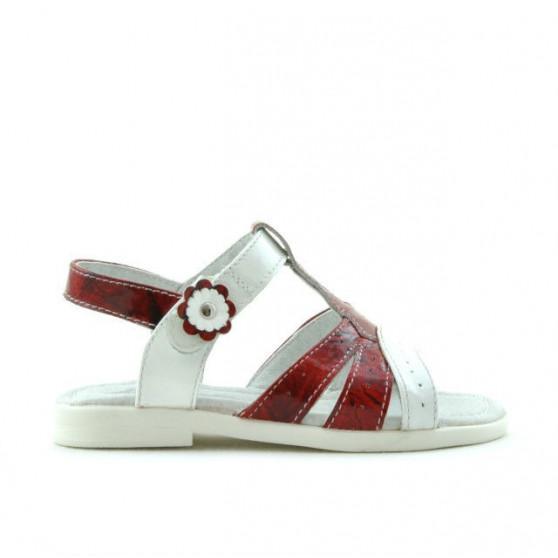 Small children sandals 18c patent red+white