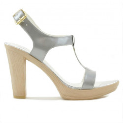 Women sandals 5018 patent silver