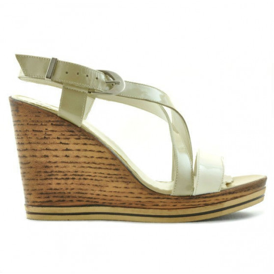 Women sandals 5016 patent beige combined