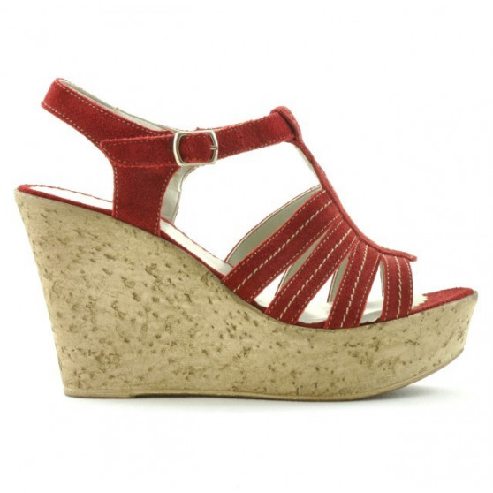 Women sandals 598 red velour