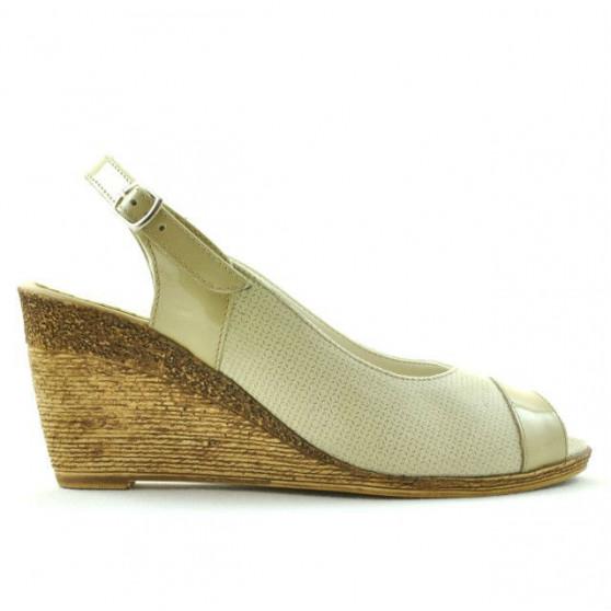 Women sandals 5019 patent beige combined