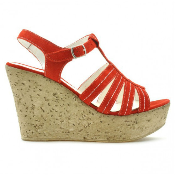 Women sandals 598 red coral velour