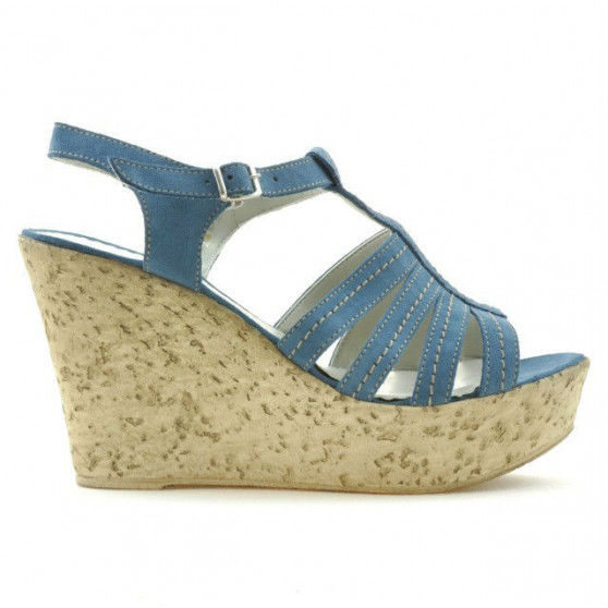 Women sandals 598 bleu velour