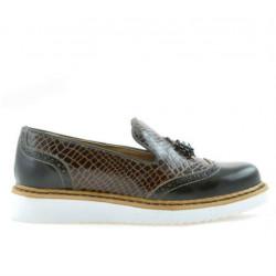 Pantofi casual dama 659 lac cafe combinat