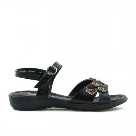 Children sandals 523 patent black+burgundy
