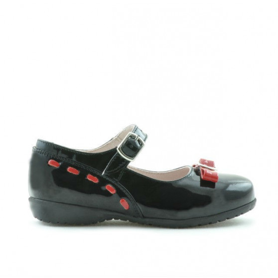 Small children shoes 12c patent black+red