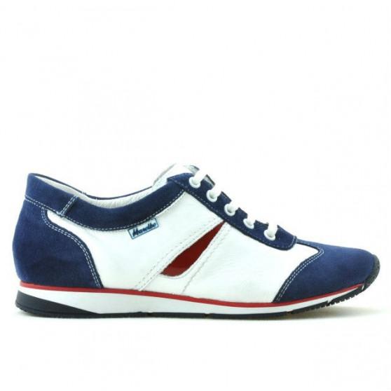Women sport shoes 196 indigo velour+white