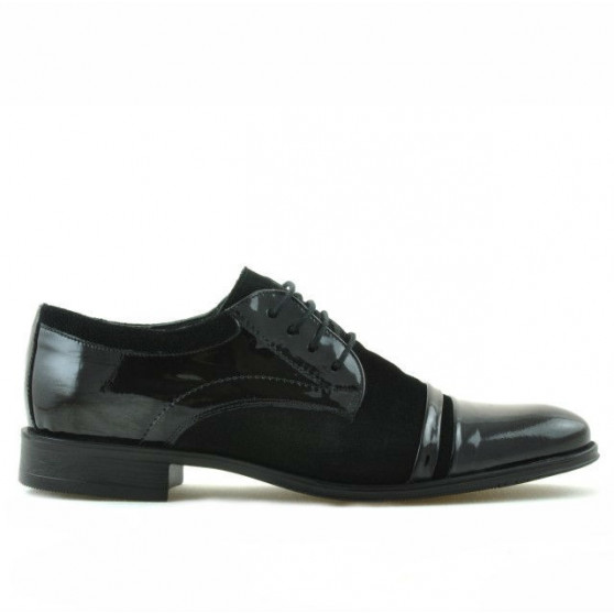 Pantofi eleganti adolescenti 391 velur negru combinat