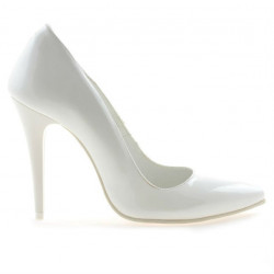Women stylish, elegant shoes 1241 patent white