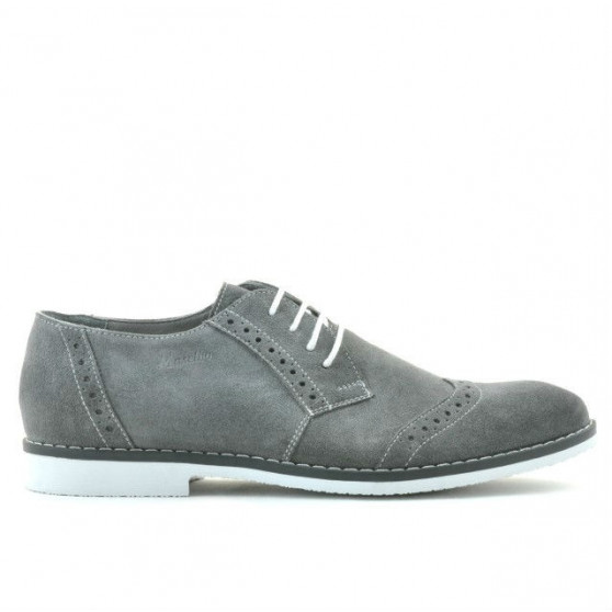 Men stylish, elegant, casual shoes 746 gray velour