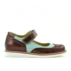 Pantofi copii 153 lac bordo combinat