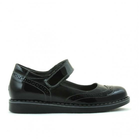 Pantofi copii 153 lac negru combinat