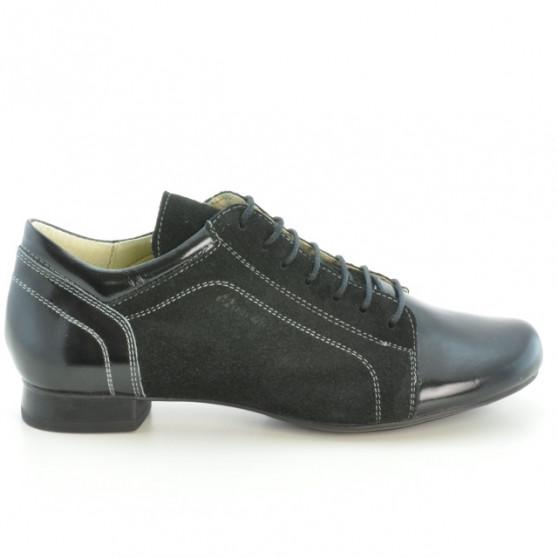 Pantofi casual dama 645 lac negru combinat