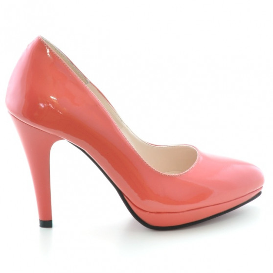Women stylish, elegant shoes 1233 patent red coral