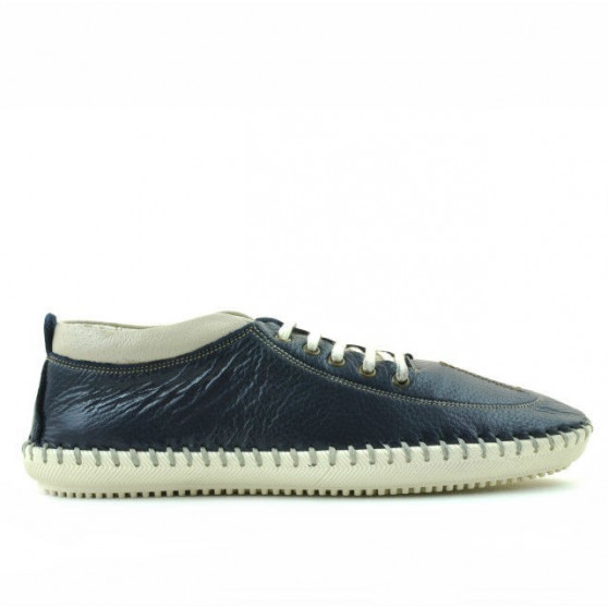 Men loafers, moccasins 864 indigo+beige