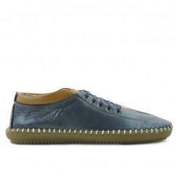 Men loafers, moccasins 864 indigo+brown