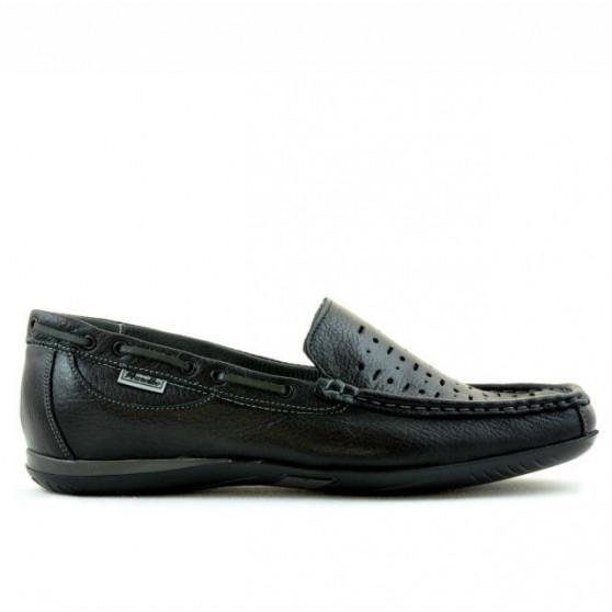 Men loafers, moccasins 719p black perforat
