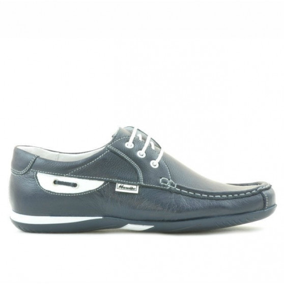 Men loafers, moccasins 718 indigo+white