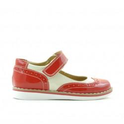 Pantofi copii mici 56c lac rosu+bej