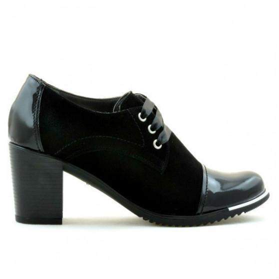 Pantofi casual dama 667 lac negru combinat