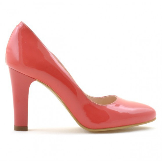 Women stylish, elegant shoes 1243 patent red coral