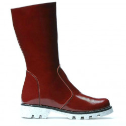 Children knee boots 3003 patent burgundy