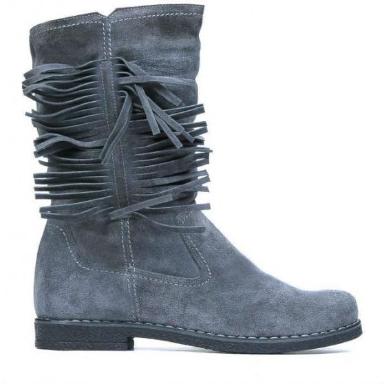Women knee boots 3242 gray velour