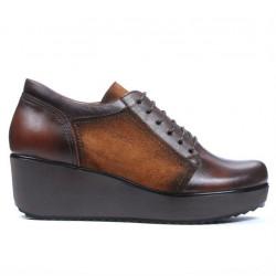 Pantofi casual dama 668 maro combinat