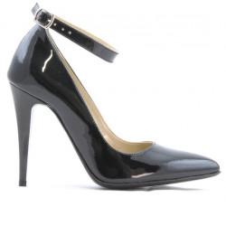 Women stylish, elegant shoes 1247 patent petrol pearl