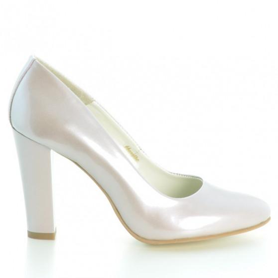 Women stylish, elegant shoes 1214 patent beige pearl
