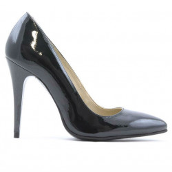 Women stylish, elegant shoes 1241 patent petrol pearl
