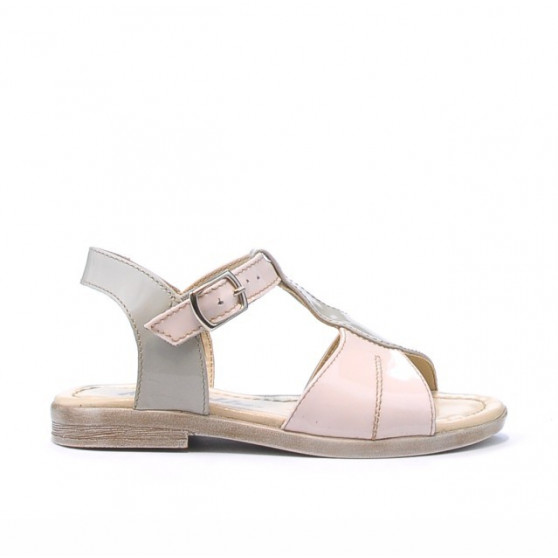 Sandale copii mici 40c lac bej+roz