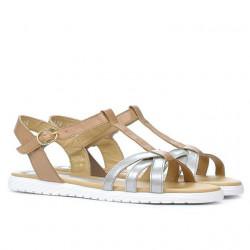 Sandale dama 5038 argintiu combinat
