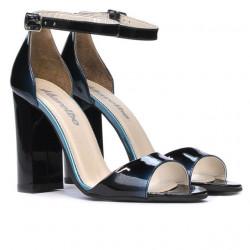 Women sandals 1259 patent bleu+black