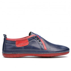 Men loafers, moccasins 865 indigo+red