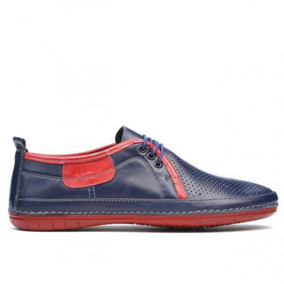 Men loafers, moccasins 865 indigo+red