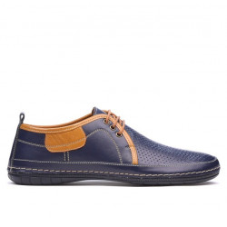 Men loafers, moccasins 865 indigo+brown