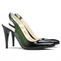 Women sandals 1249 patent green+black