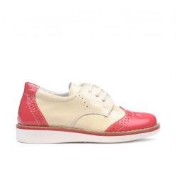 Pantofi copii mici 60c lac roz+bej