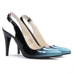 Women sandals 1249 patent bleu+black