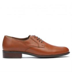 Men stylish, elegant shoes 837 brown cognac