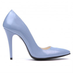 Women stylish, elegant shoes 1241 patent bleu