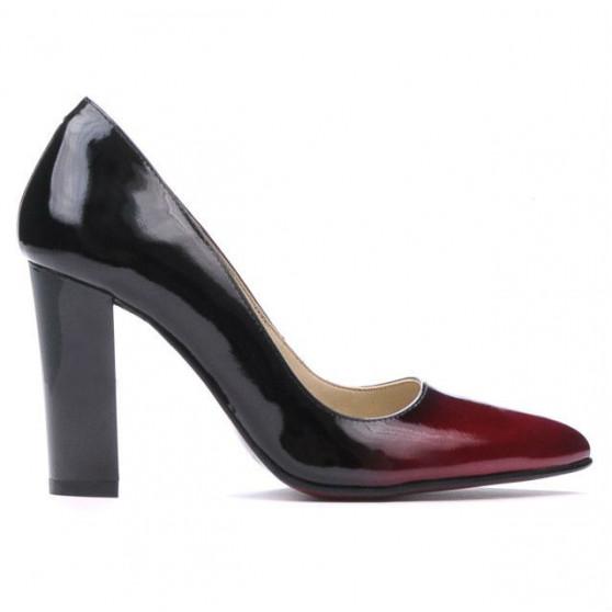 Women stylish, elegant shoes 1261 patent bordo+black
