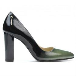 Women stylish, elegant shoes 1261 patent green+black