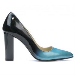 Women stylish, elegant shoes 1261 patent bleu+black